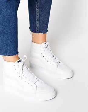 Vans Sk8-Hi True White High Top Trainers (With images ...