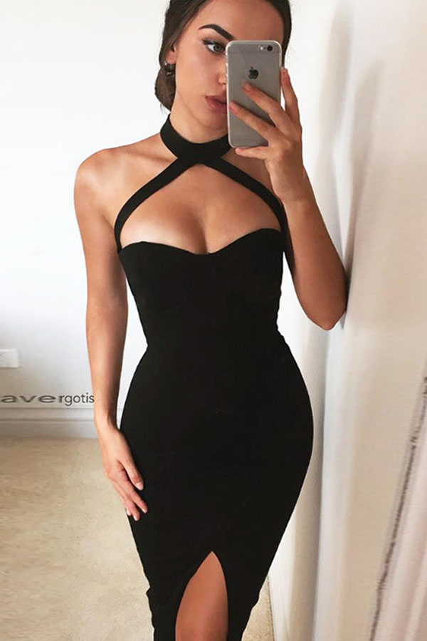 76a8e9c391aa Black Halter Front Slit Zipper Back Midi Dress in 2019 | Date Night ...