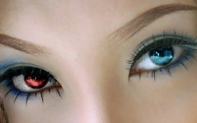 women eyes blue eyes people heterochromia red eyes asians 1280x800