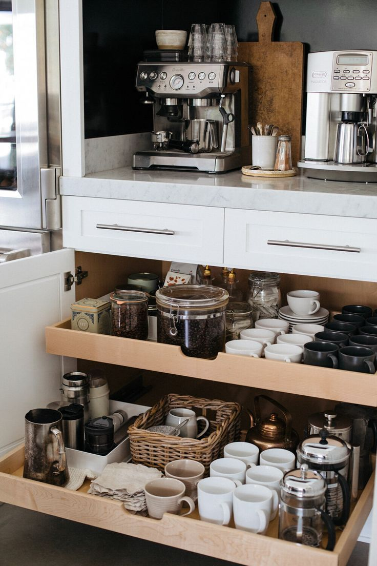 Helpful tips and ideas for organizing a beautiful kitchen coffee station.
