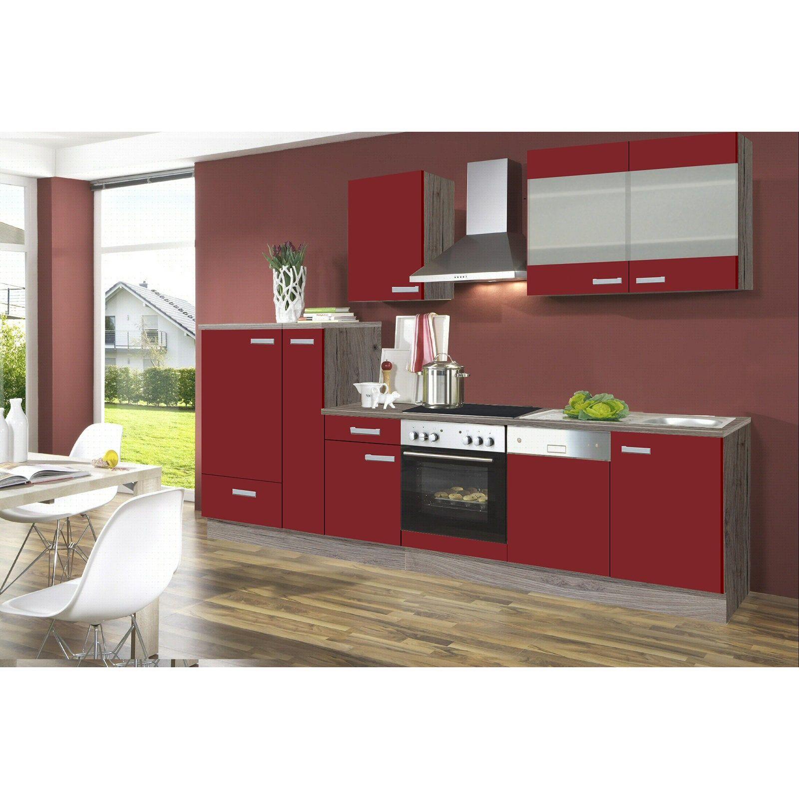 Super Küchenblock RONJA - rot-Sonoma Trüffel - 300 cm ohne E-Geräte KN13