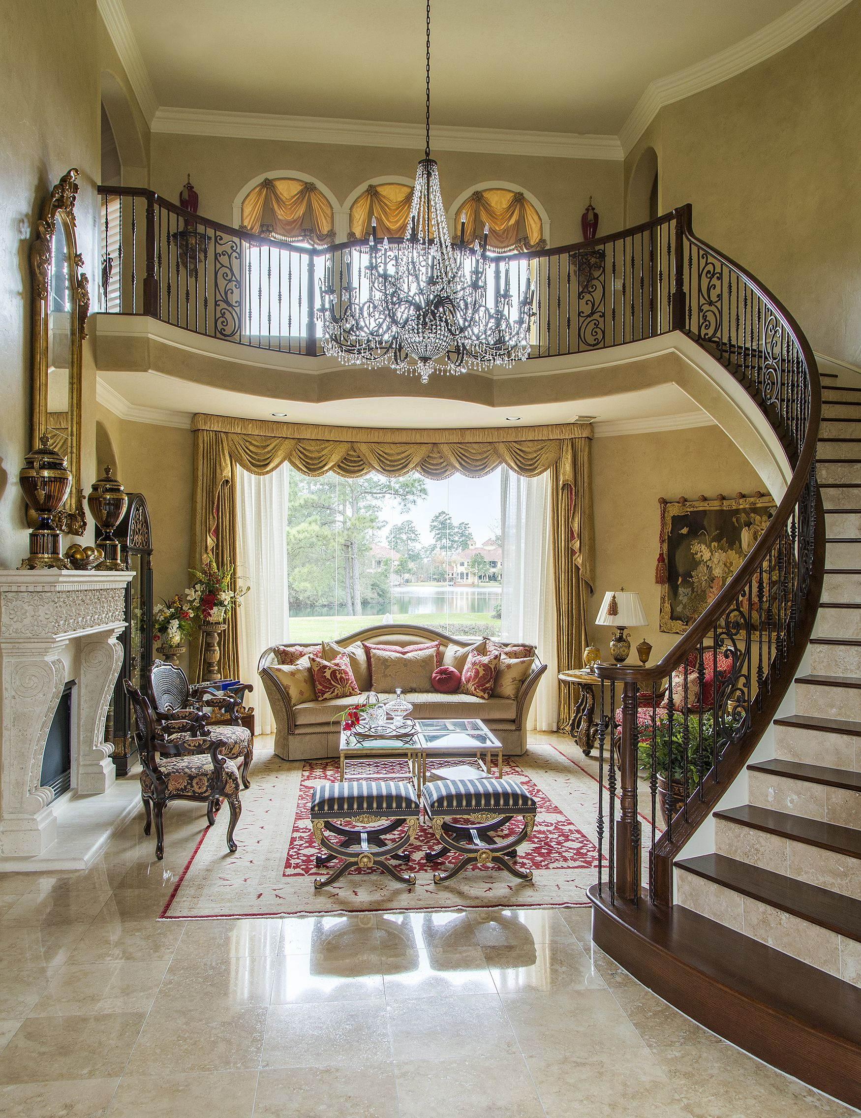 Guests Are Welcomed By A Grand Staircase Into This Formal Living Room Intricate Details Invi Luxury Interior Design Luxury Interior Houston Interior Designers