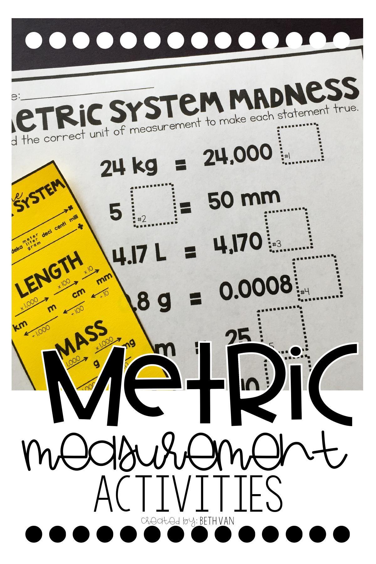 Metric Measurement Task Cards Converting Measurements