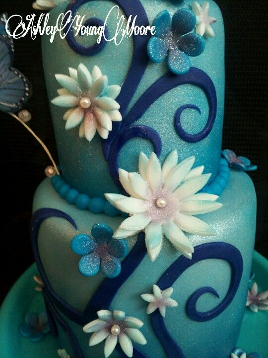 Birthday Cake Blue swirls fondant flowers butterflies pearls