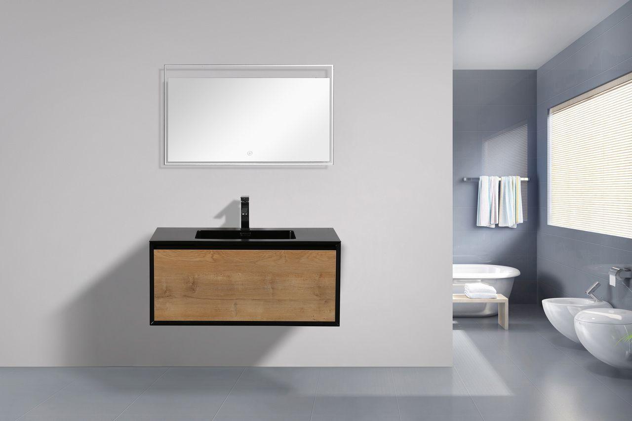 Flores 36 Teak Wall Mounted Modern Bathroom Vanity With Black