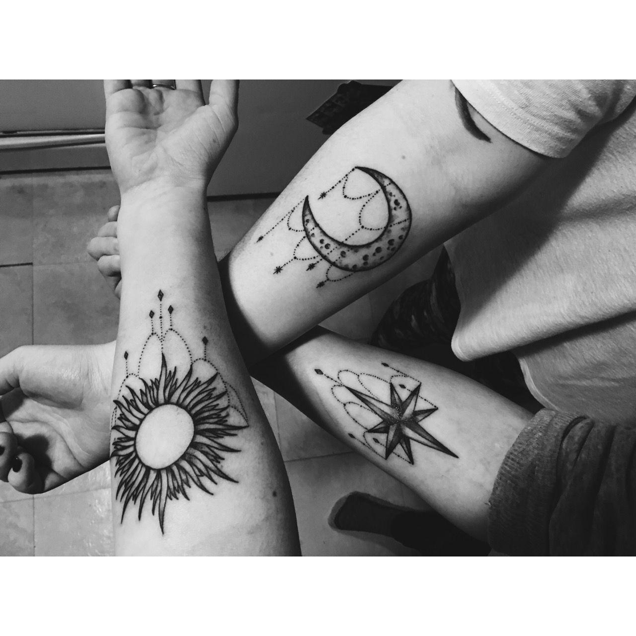 Sun star moon friendship tattoos tattoo ideas for Three friends tattoo