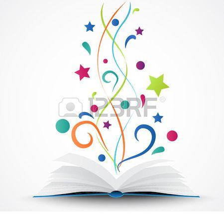 Libro Abierto Abstracto Con Estrellas De Colores Y De Las Olas