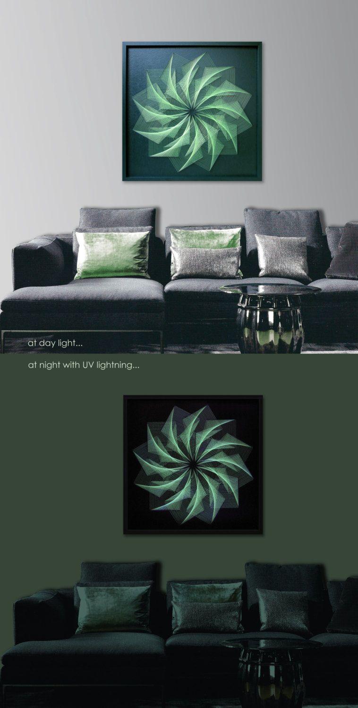 Large Custom Wall Art In Dark Green, UV String Art With Light Green Strings,