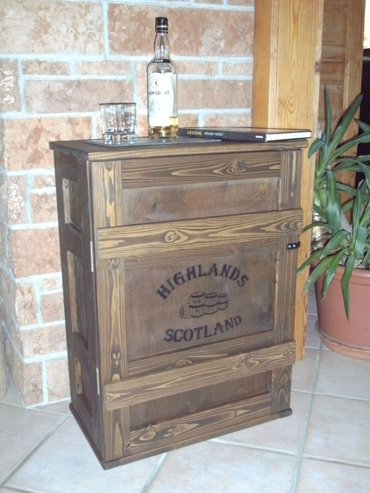 Shabby Frachtkiste Bar Truhe Vintage Couchtisch Whiskey Whisky Malt