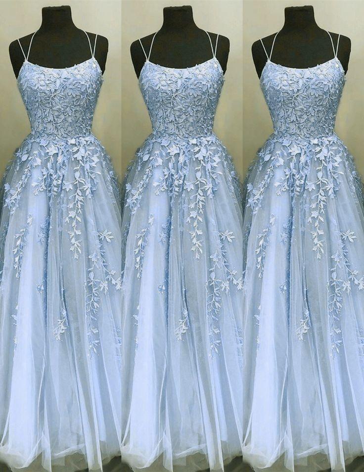 Crisscross straps aline lace appliques tulle blue prom