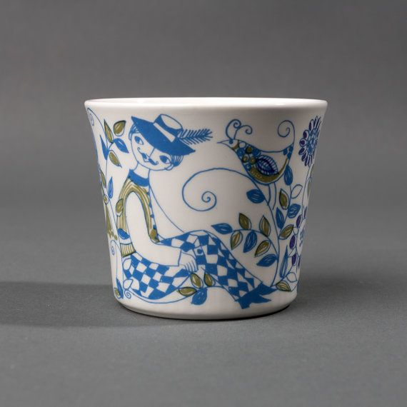 vintage mug cup figgjo flint lotte norway blue green turi design retro collectible scandinavian