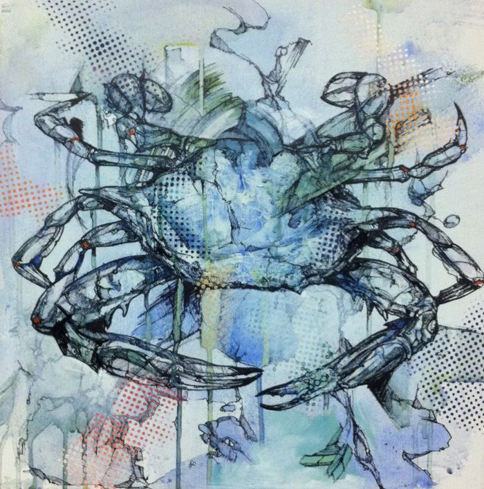 This crab changed a bit with some new dotted stencil applications. I like it as part of the series!