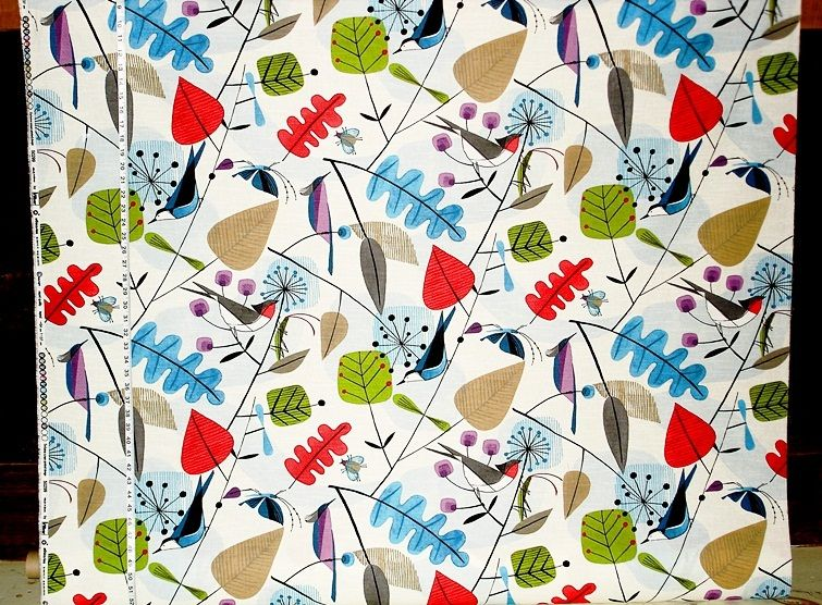 Scandinavian Fabric Retro Modern Graphic Bird Leaves From Brick House Fabric Novelty Fabric Scandinavian Fabric Fabric Birds Fabric Wallpaper