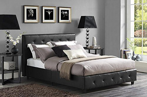 Best Queen Sized Faux Leather Upholstered Platform Bed In Black 400 x 300
