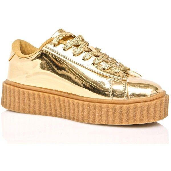Gold Metallic Creeper Sneaker ($38) ❤ liked on Polyvore featuring shoes, sneakers, lacing sneakers, creeper platform shoes, laced sneakers, metallic gold sneakers and metallic gold shoes