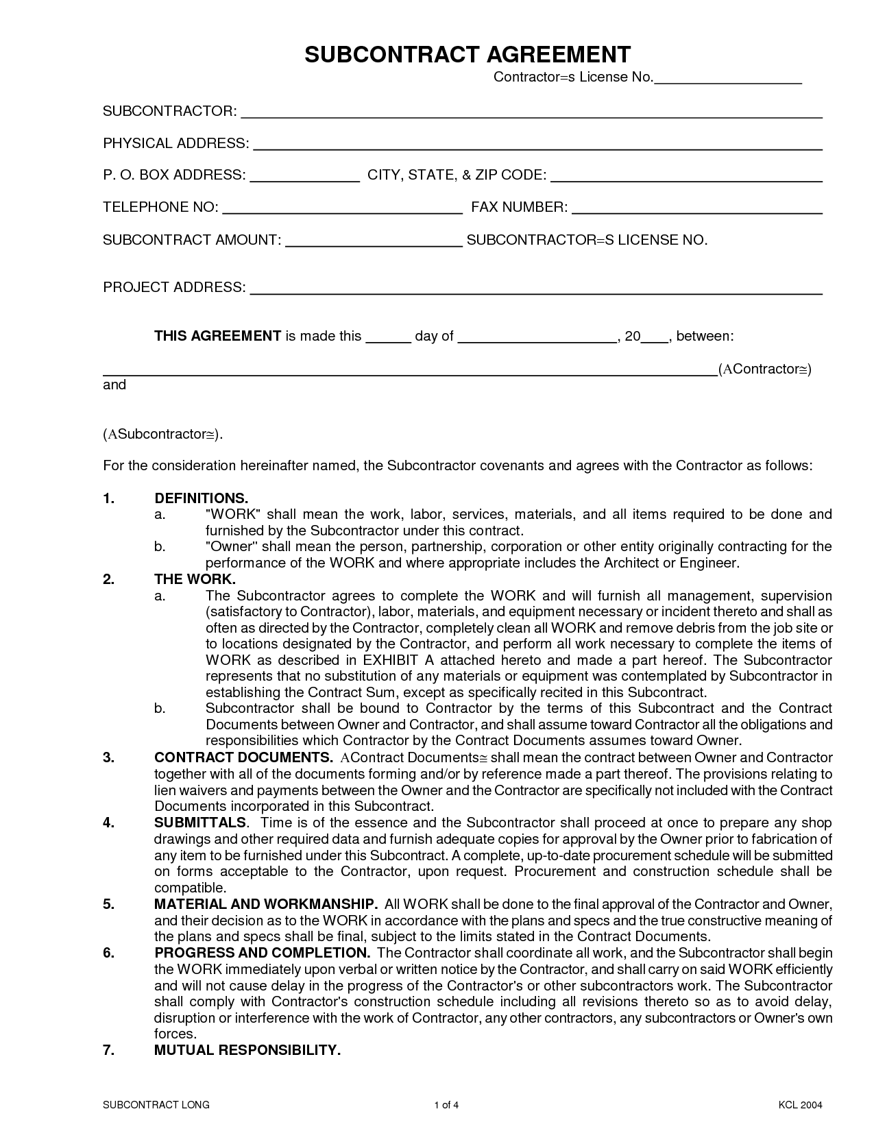 Search Results Sub Subcontractor Agreement