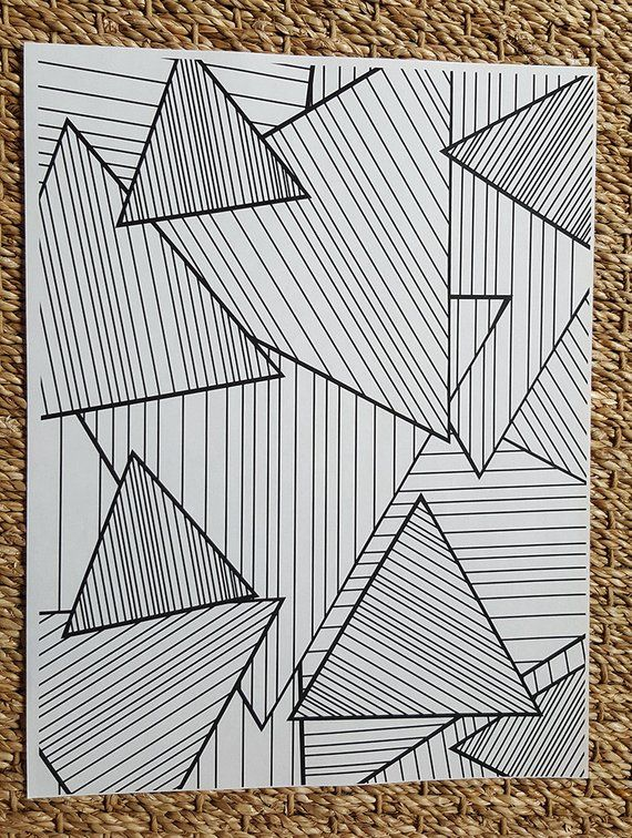 Adult Coloring Page – Abstract Striped Triangles