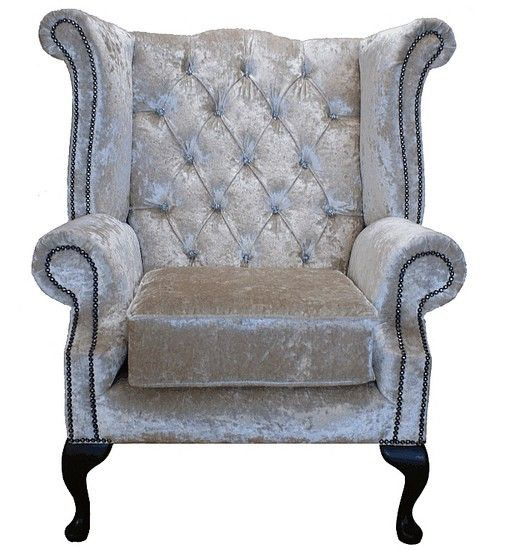 Queen Anne Wingback Chair Leather Comfy Bar Chairs Chesterfield Swarovski High Back Wing Black Velvet Sofas Traditional