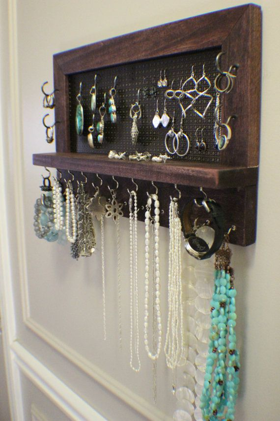 Rustic Dark Cherry Stained Wall Mounted Jewelry Organizer Wall
