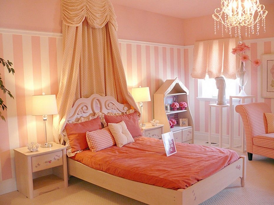 beige wooden bed with orange bed sheet connected by pink white striped wall and twin table lamps on bedside table, Lovely Idea Of Corner Beds For Girls Room Prettify Your Daughter Room: Furniture