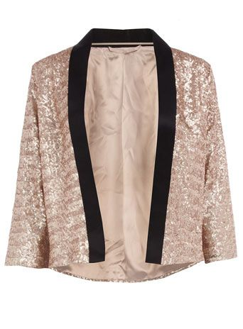 Champagne sequin jacket - Jackets - Clothing - Dorothy Perkins