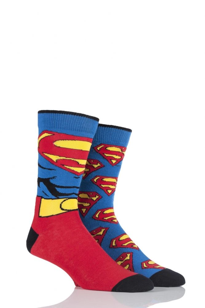 df8f652385356 Mens 2 Pair SockShop DC Comics Mix Superman Socks £4.99 | Men's Fun ...