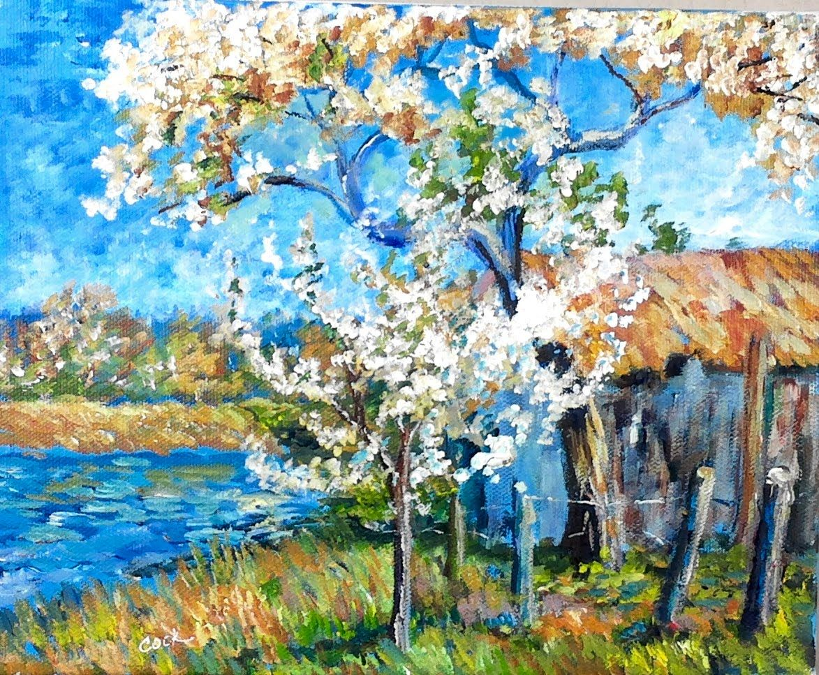spring motif painting landscape - photo #40