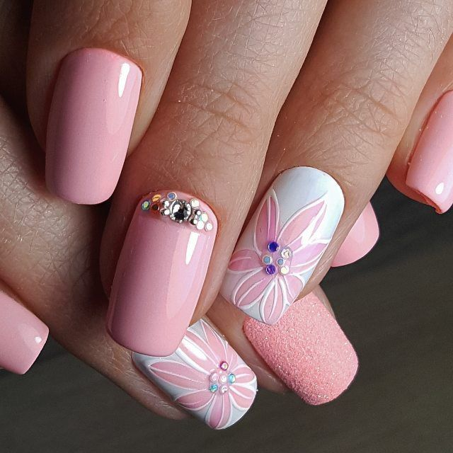 Nail Art 3846 Flower Nails Pink Nails Summer Nails 2018