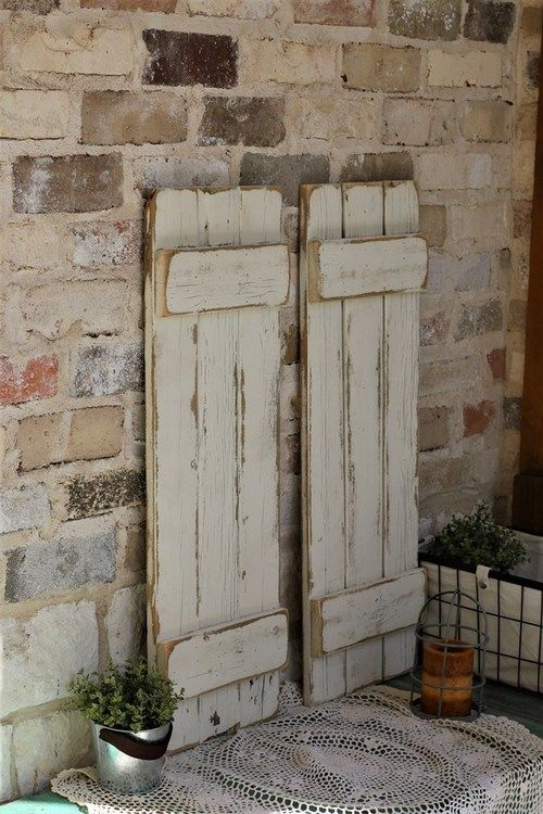 White Distressed Farmhouse Shutters Shutter Wall Decor Diy