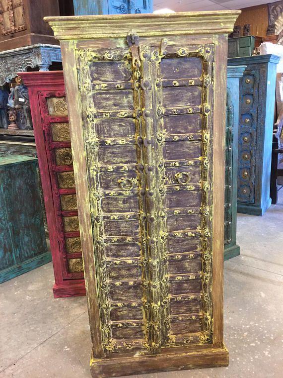Antique Jaipur Cabinet Teak Doors India Furniture Old Gold Antiques Antique Armoire Furniture