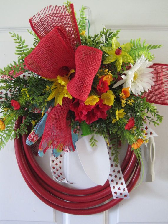 Red Garden Hose Wreath FREE SHIPPING Ladybug Theme By FunFlorals