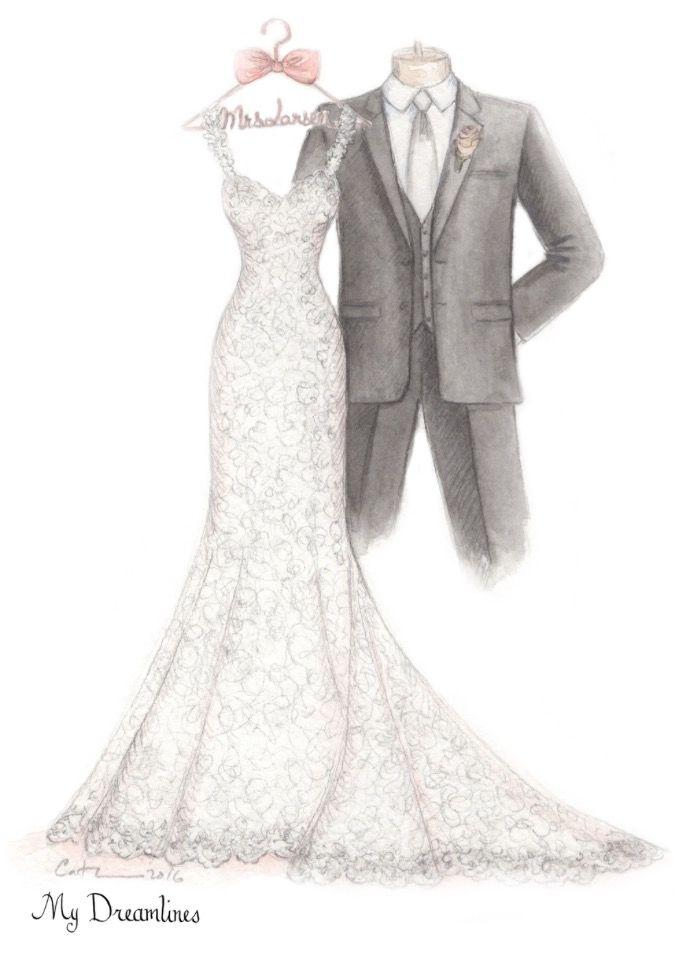 Her Dress Sketched And Framed Dreamlines Wedding Dress Sketch Given