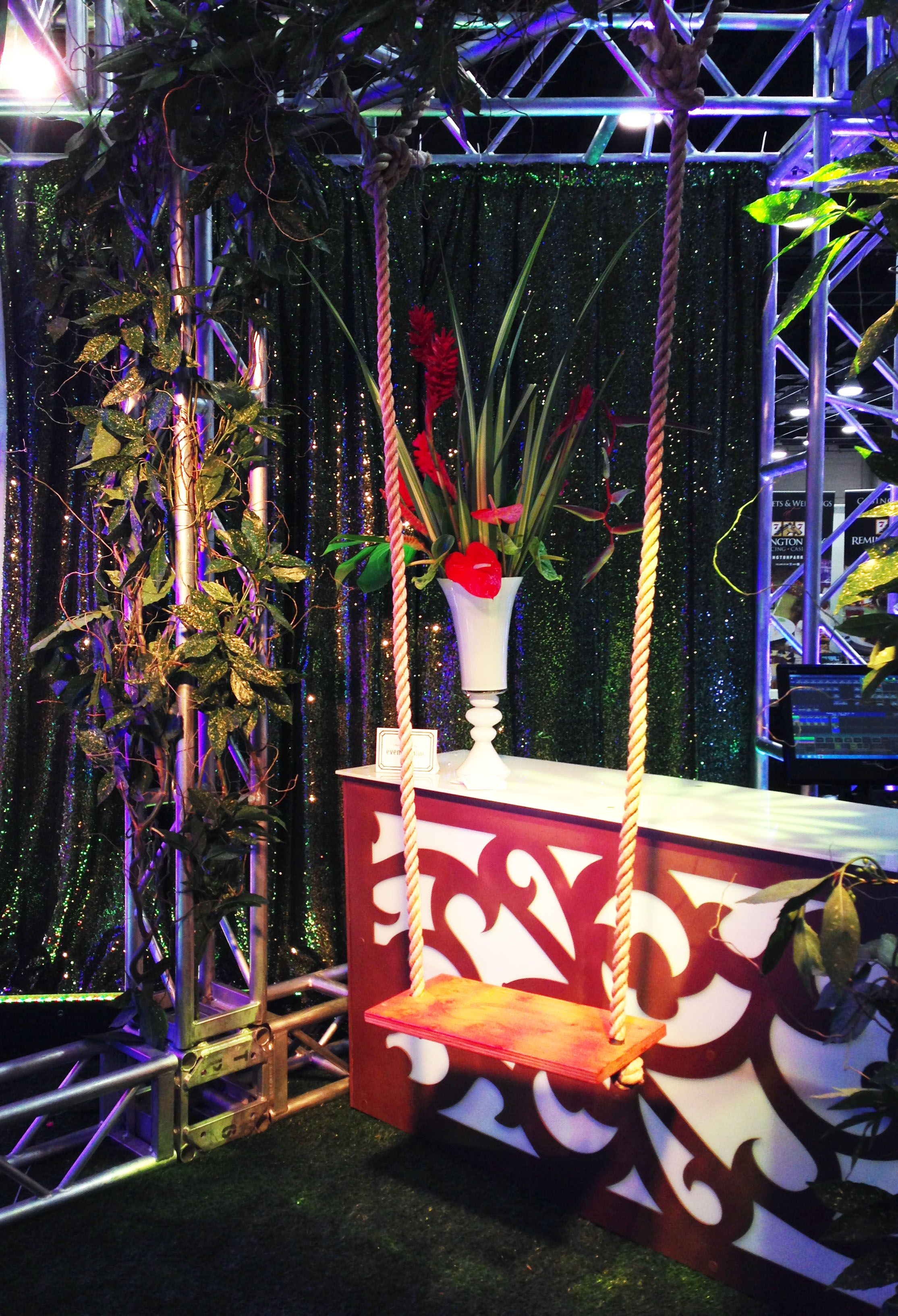 Jungle Themed Bar With Swing Theme Party Jungle Vines Swing