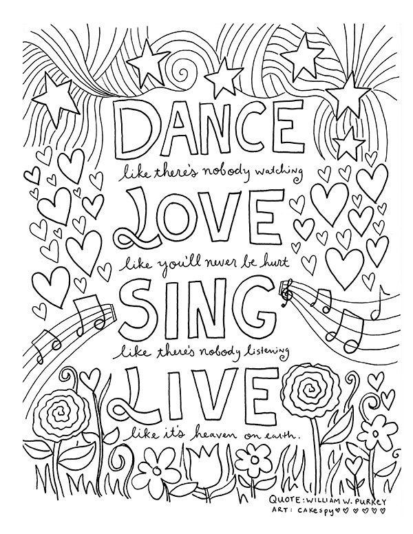 Pin For Later 50 Printable Adult Coloring Pages That Will Make You Feel Like A Kid Again Get The Page Dance Love Sing Live