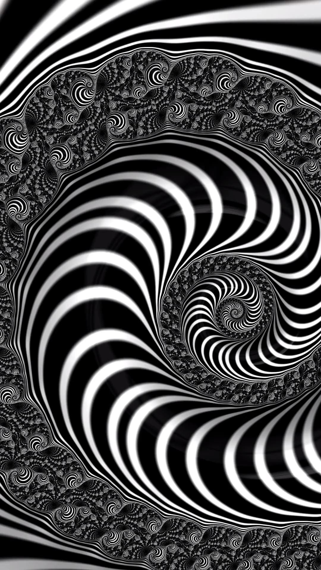 Fractal Op Art, black and white Spiral. Prints for sale (canvas, metal, acrylic), tap/click through and get inspired! #fractalart #spiral #wallart