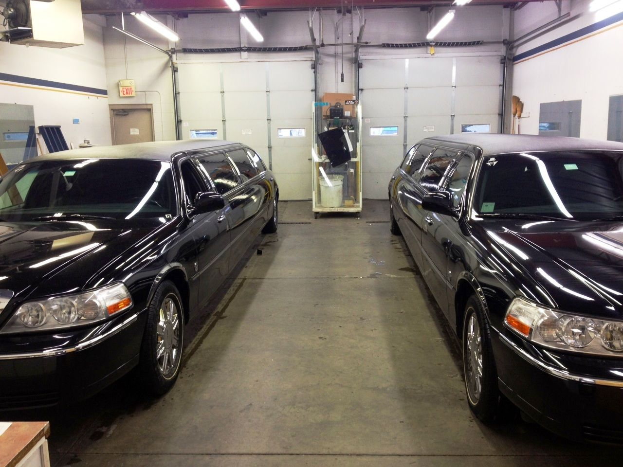 Two limos that were custom fitted with window tint