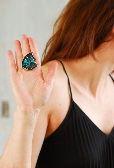 Big Blue Black Statement Cocktail Ring Natural by TaylorsEclectic