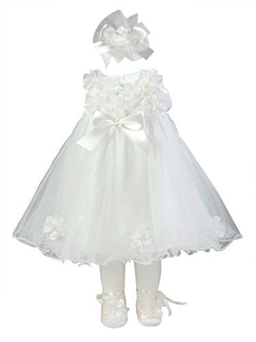 Taffy Taffy Baby Girl Christening Baptism Embroidered White Dress Gown 6 Piece Deluxe Set T.F