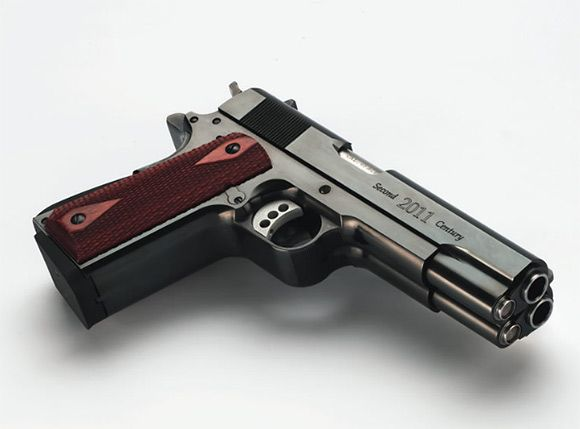 Worlds-First-Double-Barrel-1911-Semiautomatic, not my style, but - double first