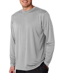 73ecb199 8422 Ultraclub Adult Cool Dry Sport Long Sleeve Performance Interlock Tee  Grey