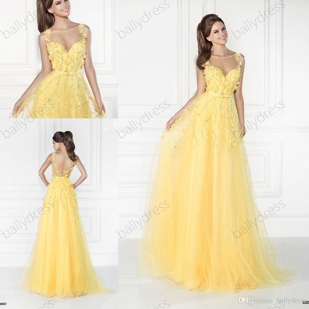 New design a line winter formal gown cheap prom dresses yellow lace