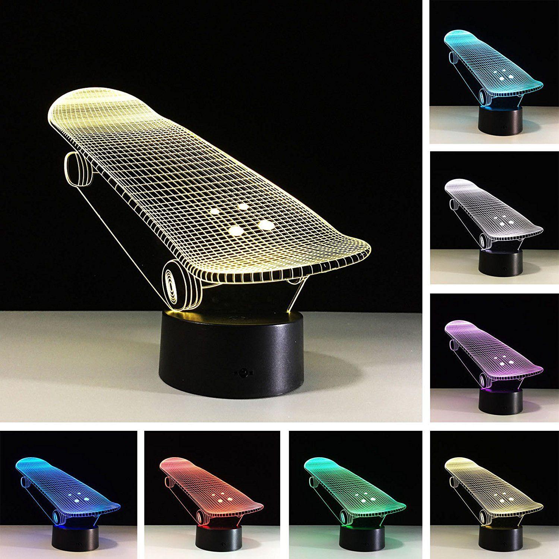 3d skateboard illusions lampen tolle 7 farbwechsel acryl berhren tabelle schreibtisch nachtlicht mit usb - Skateboard Regal Kinder Schlafzimmer