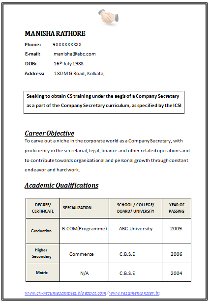 Professional Curriculum Vitae Resume Template For All Job Seekers Sample Template Of An Excellent Resume Format Examples Simple Resume Format Resume Format