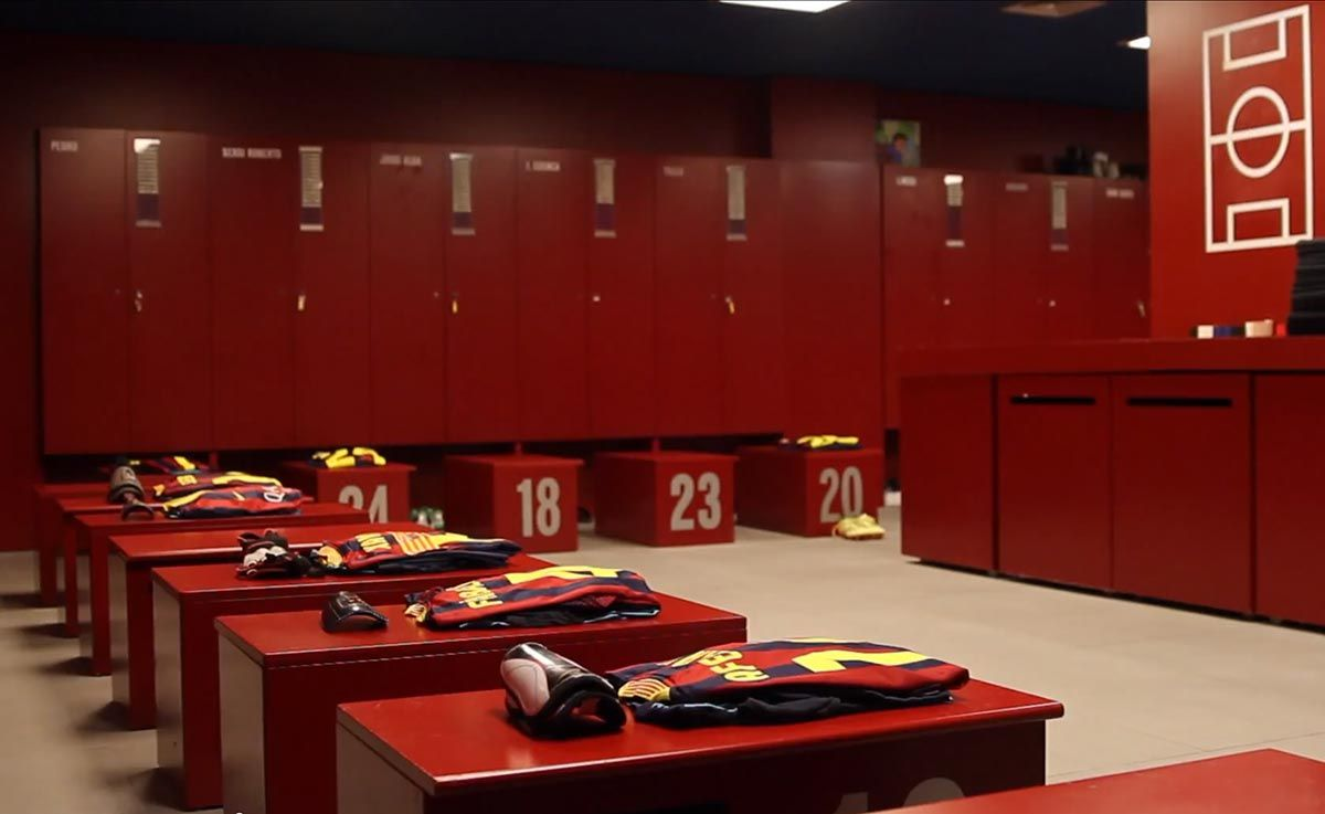 Fc Barcelona S Locker Room At The Camp Nou Before A Match