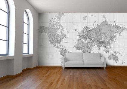 Black and white world map wallpaper by watts london at bouf