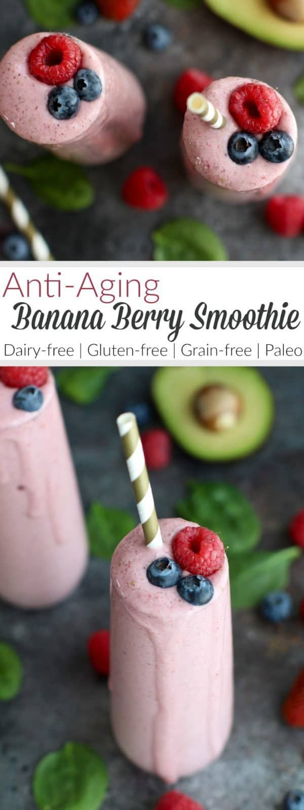 Anti-Aging Banana Berry Smoothie #dairyfreesmoothie