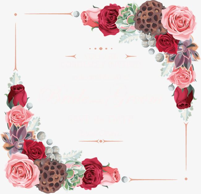 Vector Flowers Border Flowers Frame Decoration Png And Vector Vector Flowers Flower Border Png Flower Frame
