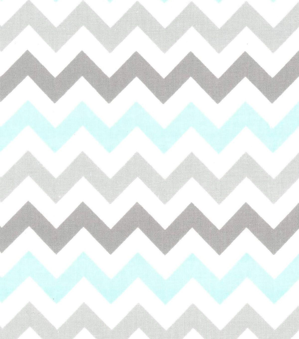 Nursery Baby Basic Fabric- Chevron Gray White TealNursery Baby ...