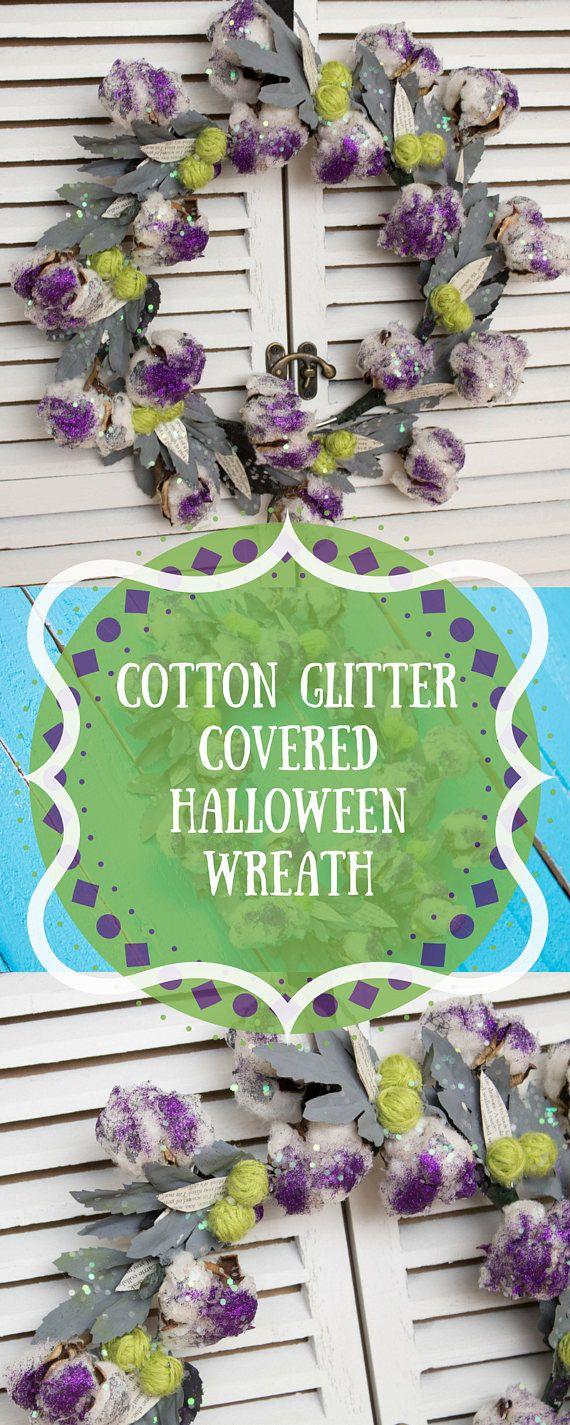 Front Door Wreath/ Cotton/ Farmhouse/ Glitter/ Yarn/ Halloween - halloween front door decor