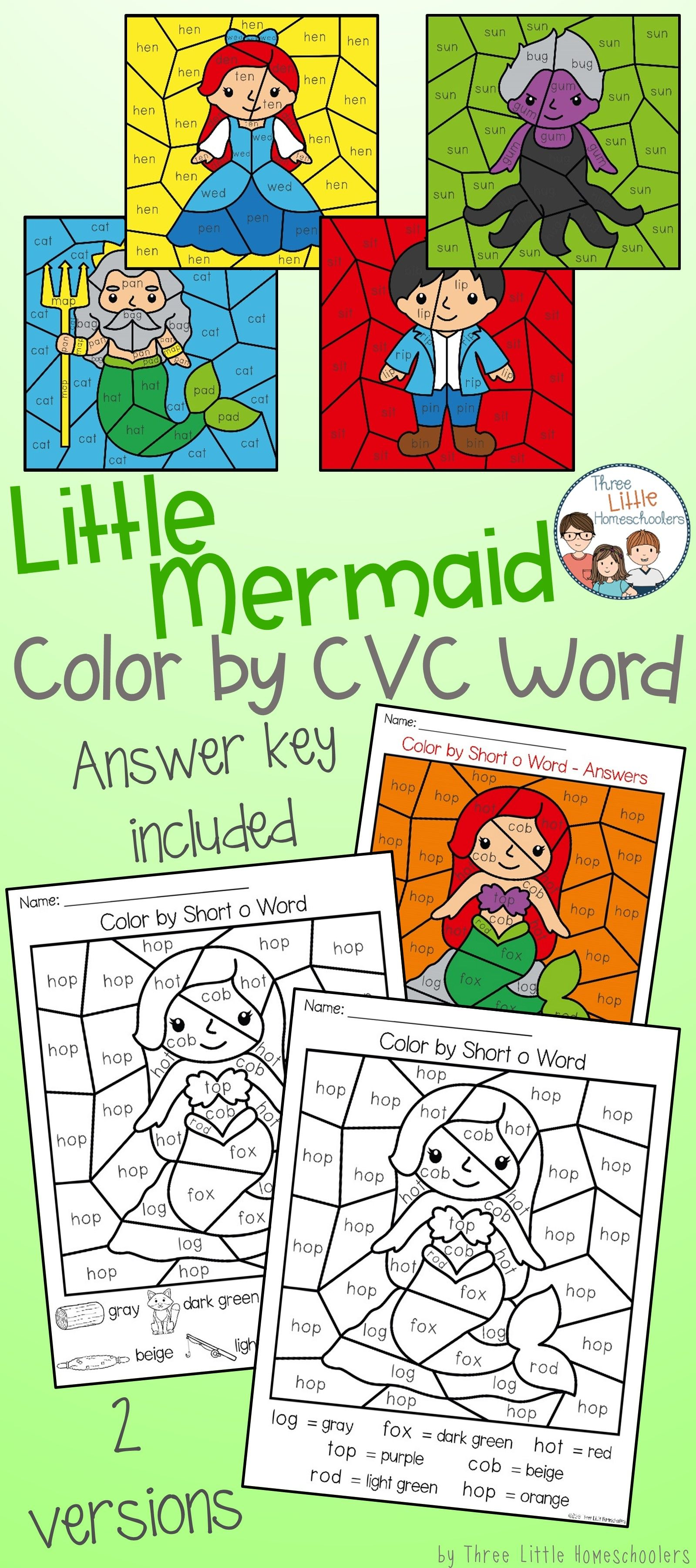 Little Mermaid Color By Cvc Word